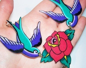 green and purple sparrows and rose necklace