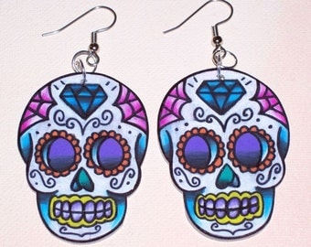 diamond sugar skull earrings