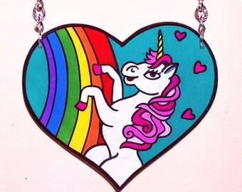 super cute magical unicorn heart shaped necklace