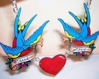 true love blue sparrow and heart necklace
