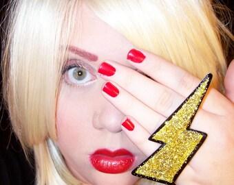 gaga for glam jerseylicious GOLD glitter MEGA lightning bolt ring