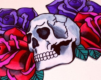 deluxe purple and red rose love will tear us apart skull necklace