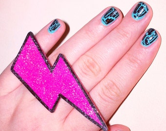gaga for glam jerseylicious HOT PINK glitter MEGA lightning bolt ring