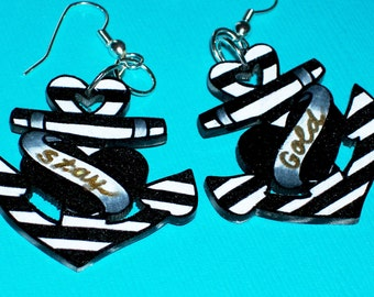black and white striped sailor delight anchor earrings