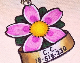 cherry blossom banner pet cat dog tag
