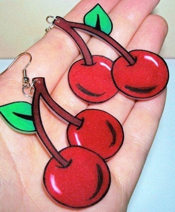 very cherry earrings rockabilly tattoo