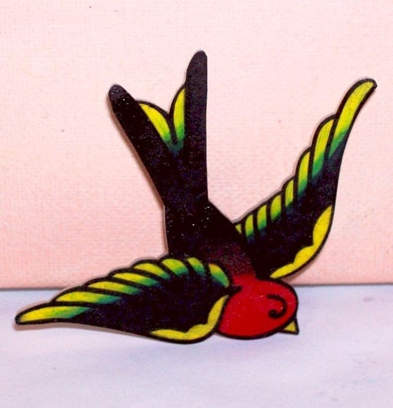 simple traditional sparrow pin back badge pin