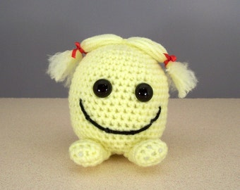 Crochet Amigurumi Stuffed Happy Face Plush, Crocheted Smiley face  - Sandy Happy Face