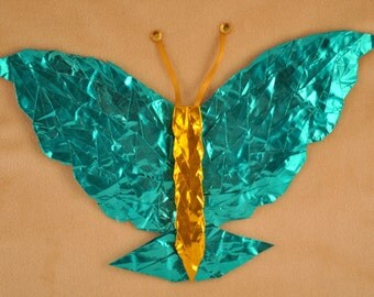 Turquoise and Gold Butterfly Art 8x10
