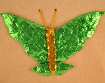 Lime Green and Gold Butterfly on Cream Velvet -- 8x10