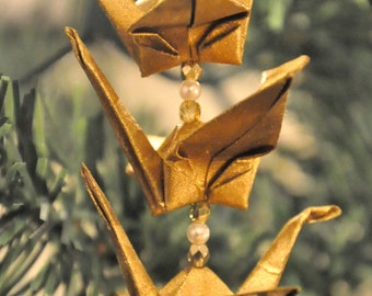 Recycled Paper Origami Crane Trio Christmas Tree Ornament -- Gold Holiday Decoration