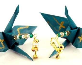 Screwback Earrings for Unpierced Ears, Teal Green Origami Cranes with Gold Strength Kanji Jewelry