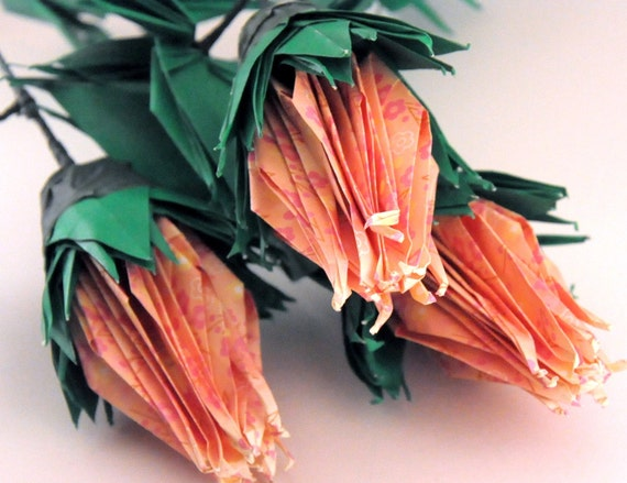 Pastel Orange Roses with Pink Plum Blossom Print Origami Cranes 3 Stems