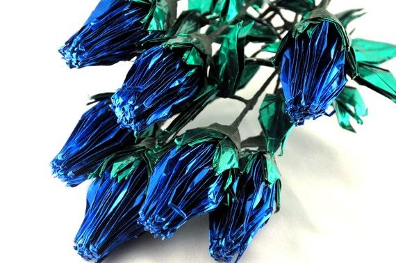 Blue Foil Origami Crane Roses -- 6 stems, small