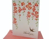 Vines and Swallow thank you letterpress notecard set