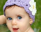Children's Daisy Flapper Beanie - violet , yellow, vanilla