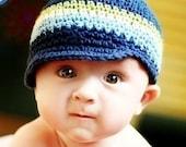 Children's Visor Beanie - navy, light sage, eggshell, light blue