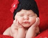 Baby Daisy Flapper Beanie - black, pastel pink, cherry red