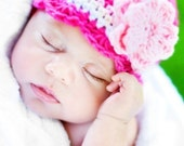 Children's CandyStripe Flapper Beanie - fuchsia, pastel pink, vanilla, white