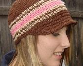 Adult Visor Beanie - chocolate, sand, rose pink