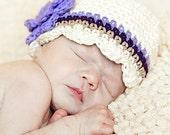 Baby CandyStripe Flapper Beanie - vanilla, violet, eggplant, sand