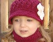 Children's Daisy Visor Beanie - burgundy, beige, vanilla