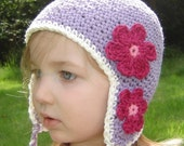 5T to Preteen Daisy Earflap Beanie - violet, vanilla, rose pink, cranberry