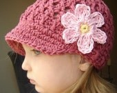 Children's Daisy Visor Beanie - dark rose, banana, pastel pink