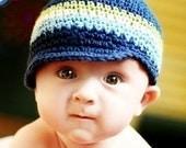 Baby Visor Beanie - navy, light sage, eggshell, light blue