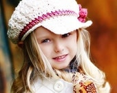 Children's CandyStripe Newsgirl Beanie - vanilla, dark rose, rose pink, army tan