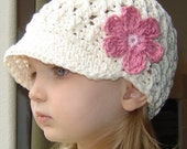 Children's Daisy Visor Beanie - vanilla, pastel pink, rose pink