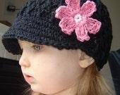 Children's Daisy Visor Beanie - black, pastel pink, rose pink