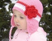 Baby Earflap Flowered Beanie - rose pink, red, pastel pink, white