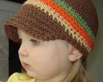 Children's Visor Beanie - chocolate, light sage, burnt orange, camel