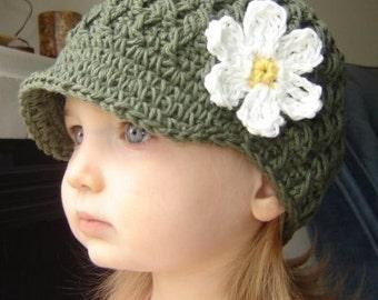 Children's Daisy Visor Beanie - army green, yellow, eggshell
