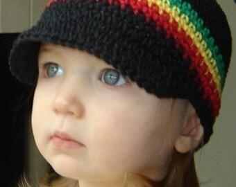 Baby Visor Beanie - black, green, yellow, red