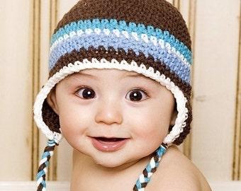 Baby Earflap Beanie - chocolate, peacock, white, lt blue
