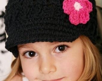 Children's Daisy Visor Beanie - black, pastel pink, fuchsia