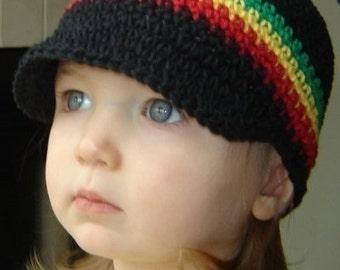 Children's Visor Beanie - black, green, yellow, red