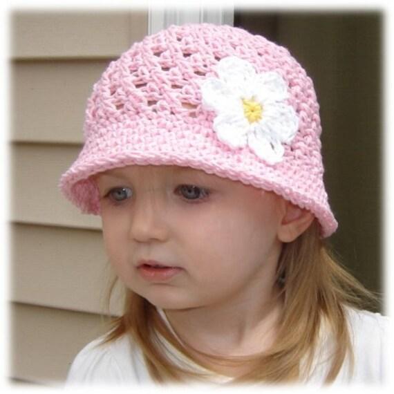 2-4T Flowered Bucket Hat - pastel pink, yellow, white