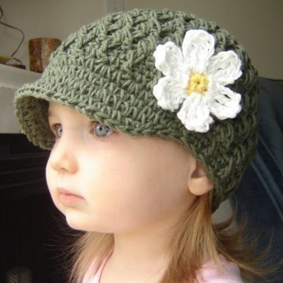 Children's Daisy Visor Beanie - army green, yellow, eggshell