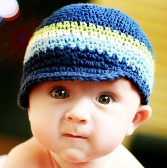Baby Visor Beanie - navy, light sage, eggshell, light blue