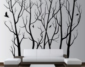"""80"""" x 72"""" Designer Wall Art Decor Vinyl Tree Forest Decal Sticker (16 available colors) 1105"""