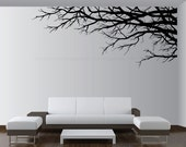 """Size 97""""W x 41""""H Wall Vinyl Art Decor Tree Top Branches Sticker. Choose color, direction 1201"""