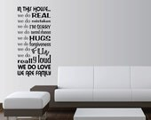 """In This House We Do Word Art Vinyl Wall Sayings Quotes Lettering Decals Stickers size 32""""W x 67 3/4""""H"""