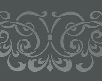 Border WALL DAMASK STENCIL Pattern Faux Mural 1016
