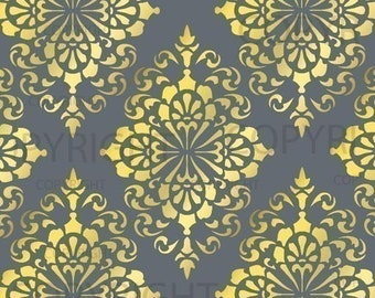 Large Wall Damask STENCIL Pattern FAUX MURAL 1015