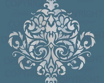 Large Wall Damask STENCIL Pattern FAUX  MURAL 1010