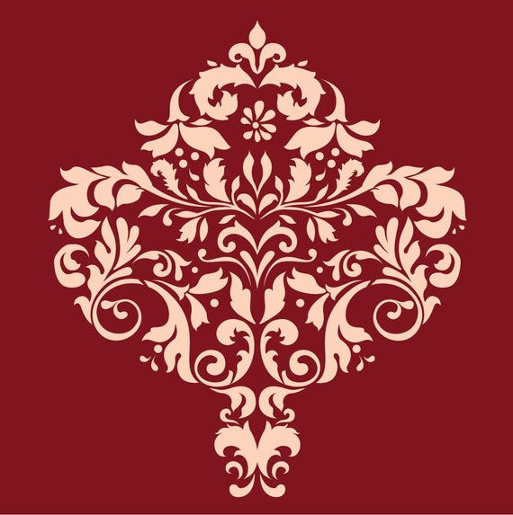 Large wall damask stencil pattern faux mural 1001 for Damask wall mural