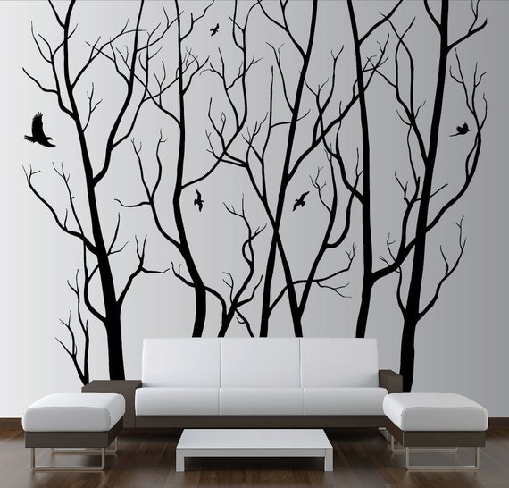 100 X 90 Designer Wall Art Decor Vinyl Tree Forest